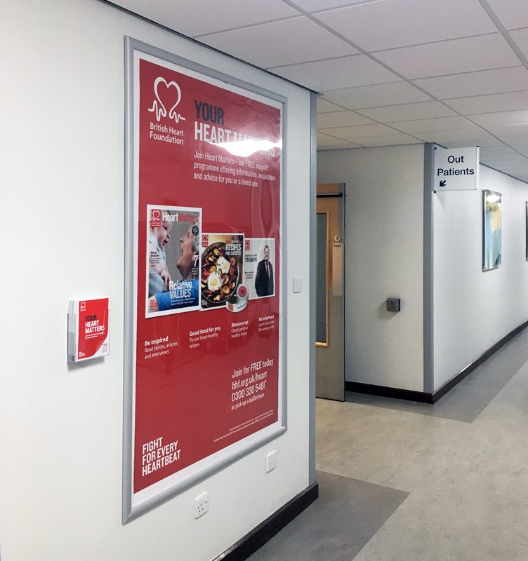 British Heart Foundation 6-sheet poster advertising in hospitals