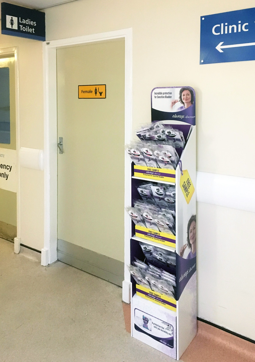 Product sampling in hospital waiting area